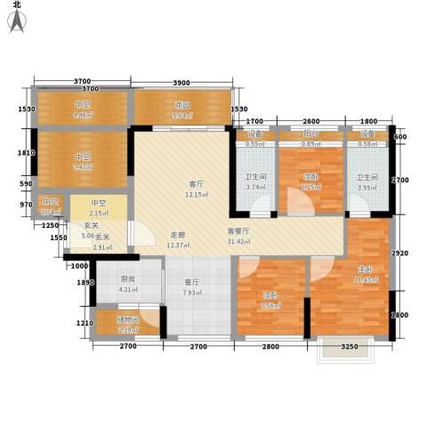 祥富花园3室1厅2卫1厨123.00㎡户型图