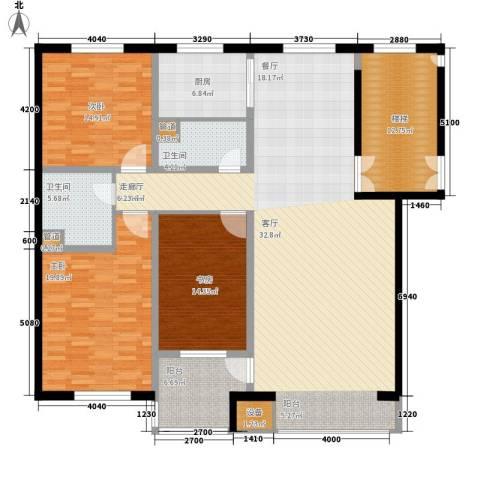 嘉业景园3室1厅2卫1厨151.00㎡户型图