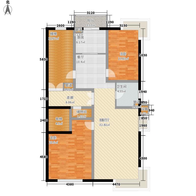嘉业景园133.00㎡高层户型2室2厅1卫1厨