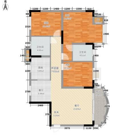 大朗中心花园3室0厅2卫1厨128.00㎡户型图