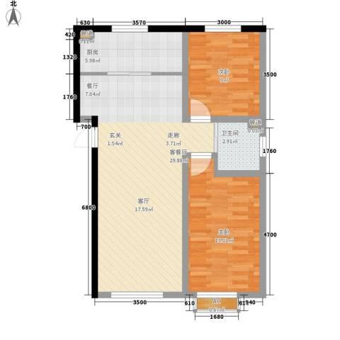 铭峰家苑2室1厅1卫1厨88.00㎡户型图