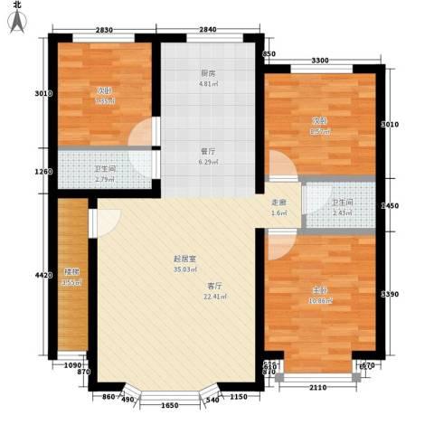 西河花苑3室0厅2卫0厨118.00㎡户型图