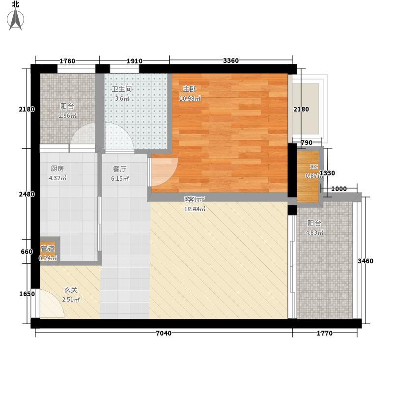 富庄庭56.71㎡07单位户型1室1厅1卫1厨
