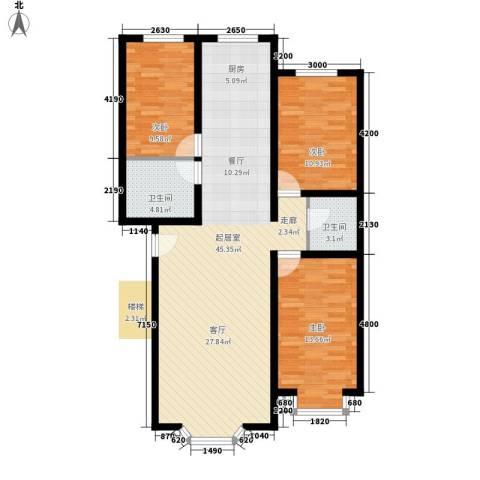 西河花苑3室0厅2卫0厨124.00㎡户型图