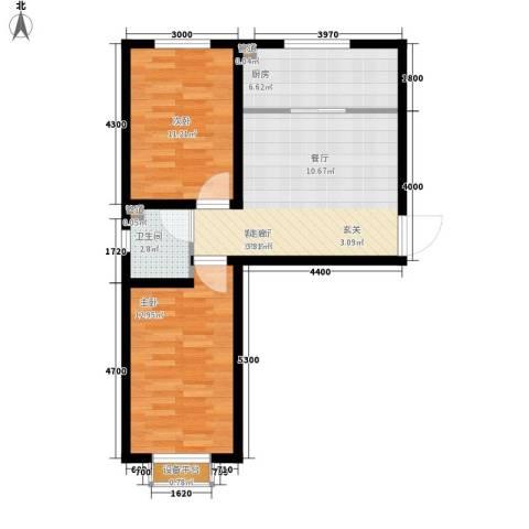 铭峰家苑2室1厅1卫1厨76.00㎡户型图