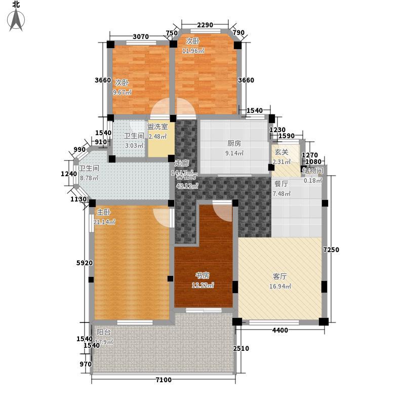 联投・滨江国际157.00㎡粉墨露院户型4室2厅2卫1厨