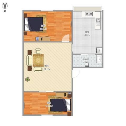 天福新城2室1厅1卫1厨90.00㎡户型图
