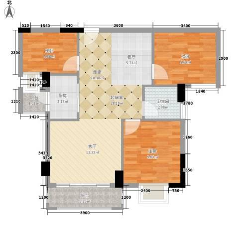 富盈山水华府别墅3室0厅1卫1厨88.00㎡户型图
