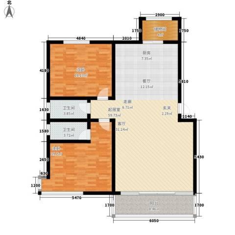 伊利东江卓越2室0厅2卫0厨131.00㎡户型图
