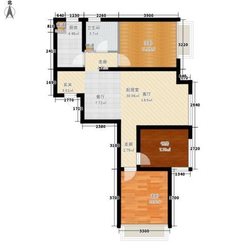 中冶世家水晶城3室0厅1卫1厨68.13㎡户型图