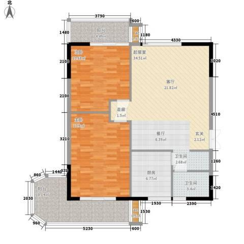 雄距都市东家2室0厅1卫1厨104.00㎡户型图