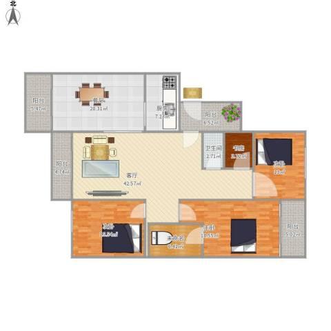 鹏基万林湖4室2厅1卫1厨163.00㎡户型图