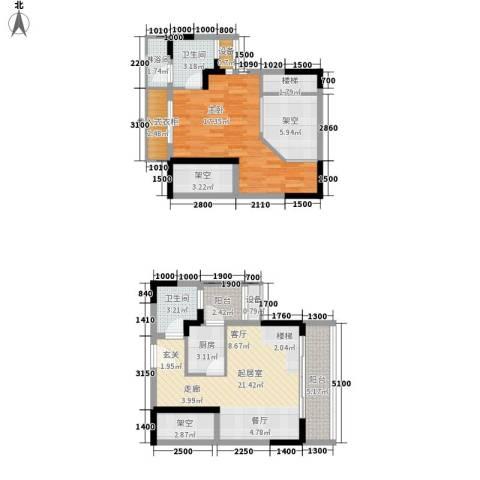 财信弗瑞登1室0厅2卫1厨75.39㎡户型图