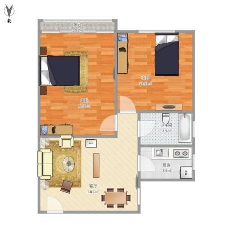 真光四街坊2室1厅1卫1厨80.00㎡户型图