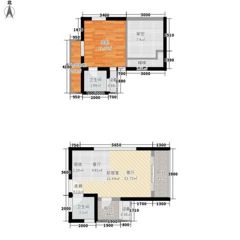 财信弗瑞登1室0厅2卫0厨61.04㎡户型图