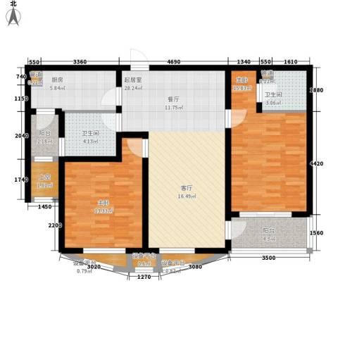 新天地公寓2室0厅2卫1厨96.01㎡户型图