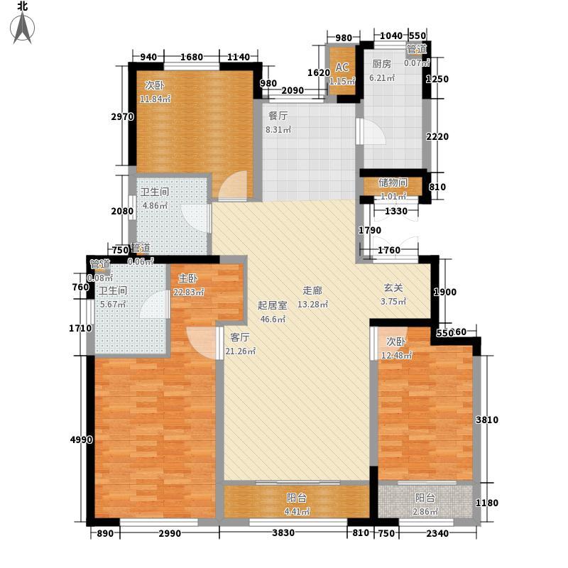 北大资源阅城136.00㎡洋房标准层A1户型3室2厅2卫1厨