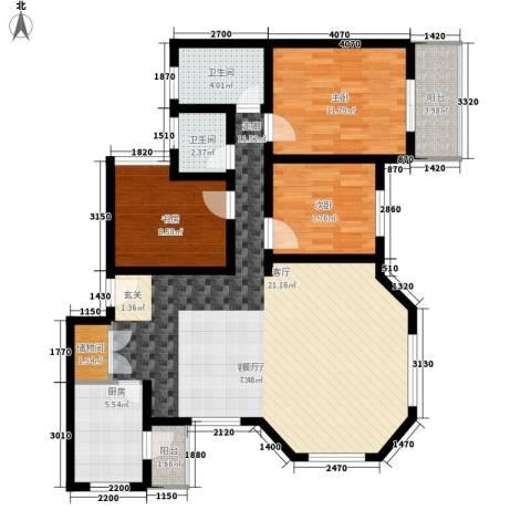 碧海红湖3室1厅2卫1厨128.00㎡户型图
