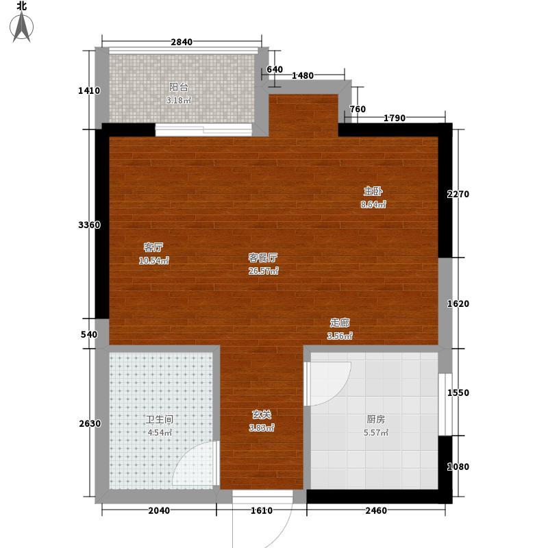 山水华府一室一厅一卫 1室1厅1卫1厨 44.93㎡