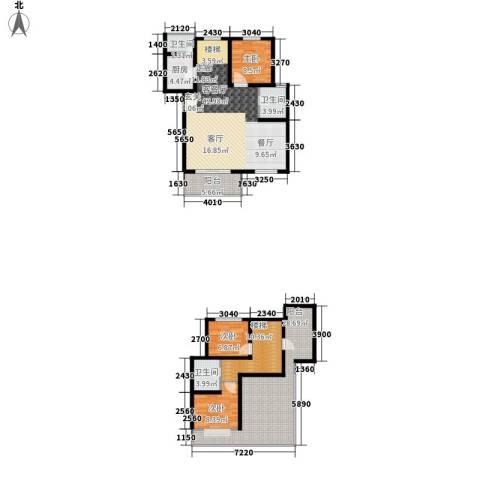 碧海红湖3室1厅3卫1厨135.00㎡户型图