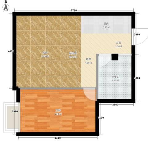 明珠汇1室0厅1卫0厨55.00㎡户型图