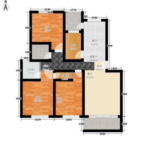 碧海红湖3室1厅2卫1厨122.00㎡户型图