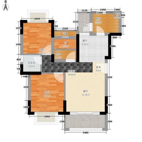 加州花园(万江)2室1厅1卫1厨58.00㎡户型图