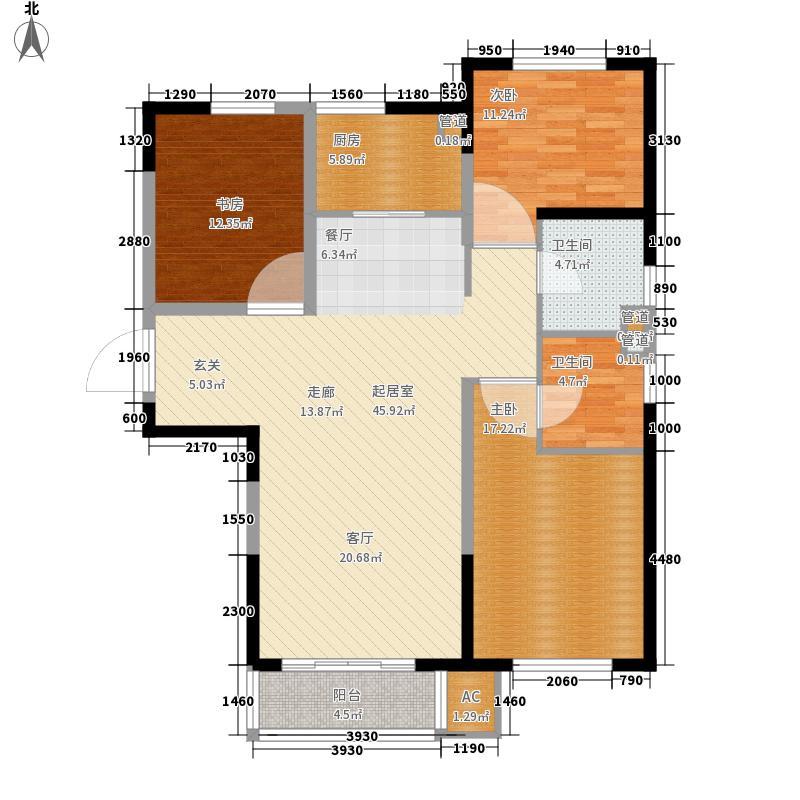 北大资源阅城122.00㎡高层标准层C户型3室2厅2卫1厨