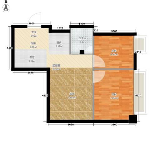 明珠汇2室0厅1卫0厨63.00㎡户型图