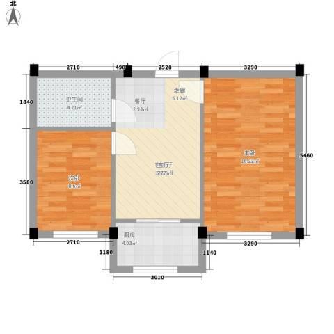 金华新村2室1厅1卫1厨66.00㎡户型图