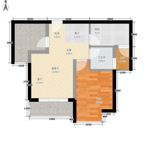 上河城1室1厅1卫1厨50.00㎡户型图