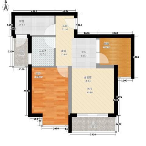 上河城1室1厅1卫1厨52.00㎡户型图