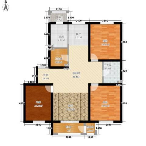 明华西江俪园3室0厅2卫1厨128.00㎡户型图