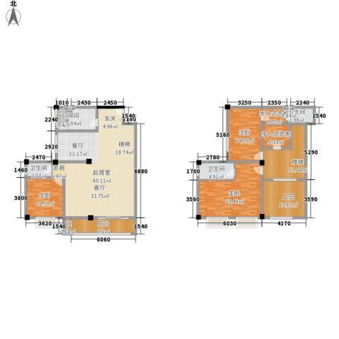 长安未来国际3室0厅3卫1厨206.00㎡户型图