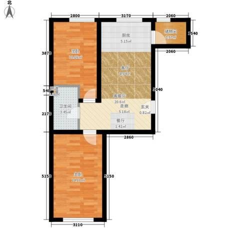 鸿博嘉园2室1厅1卫0厨73.00㎡户型图