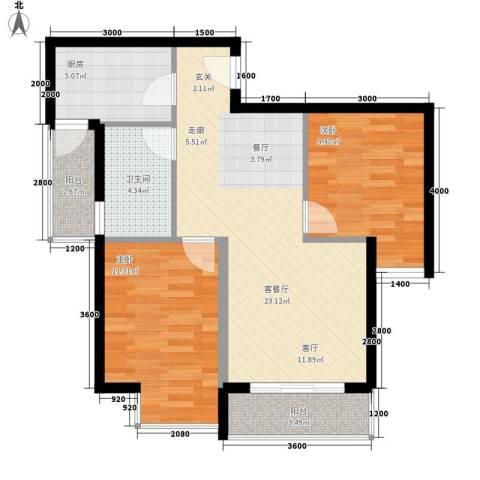上河城2室1厅1卫1厨85.00㎡户型图