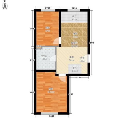 鸿博嘉园2室1厅1卫0厨70.00㎡户型图