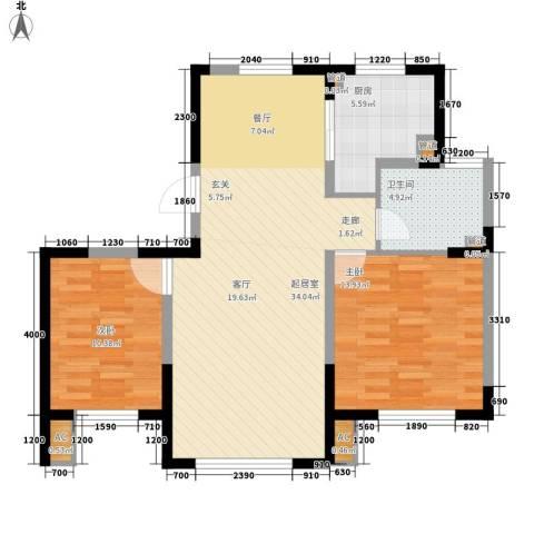 格调林泉2室0厅1卫1厨70.07㎡户型图