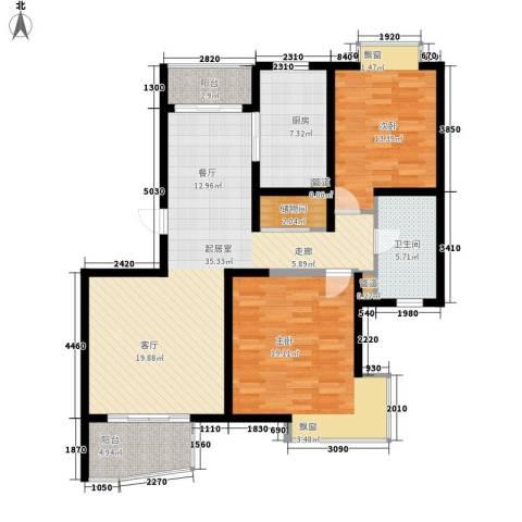 枫桥紫郡二期2室0厅1卫1厨104.00㎡户型图