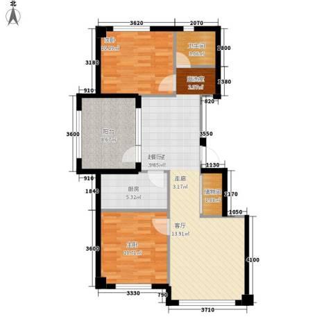 正泰园B区2室0厅1卫1厨95.00㎡户型图