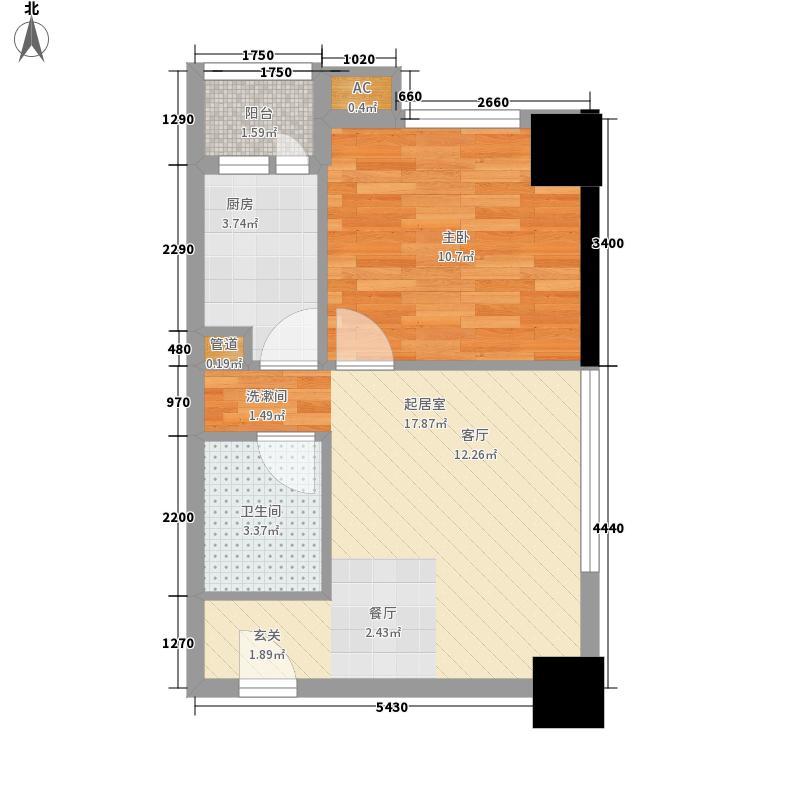 城市理想55.35㎡城市理想户型图A1-1型1室1厅1卫1厨户型1室1厅1卫1厨