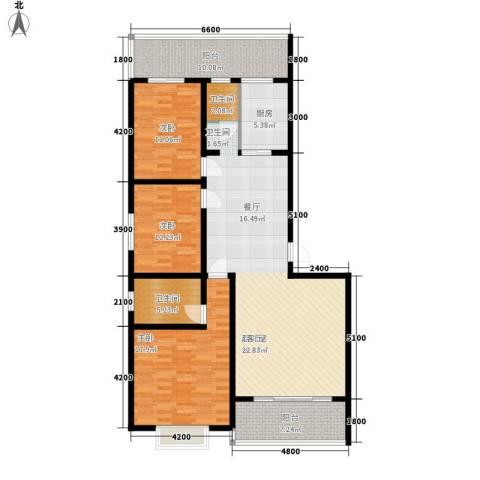 嘉盛逸林园3室0厅2卫1厨134.00㎡户型图