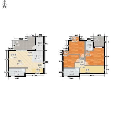 上河城3室1厅3卫1厨125.00㎡户型图