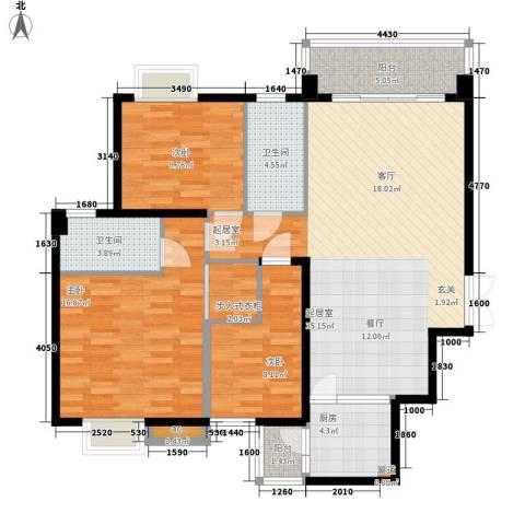 振业小区3室0厅2卫1厨106.00㎡户型图