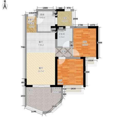 三亚・一山湖2室1厅1卫1厨94.00㎡户型图