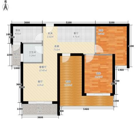 上河城2室1厅1卫1厨106.00㎡户型图