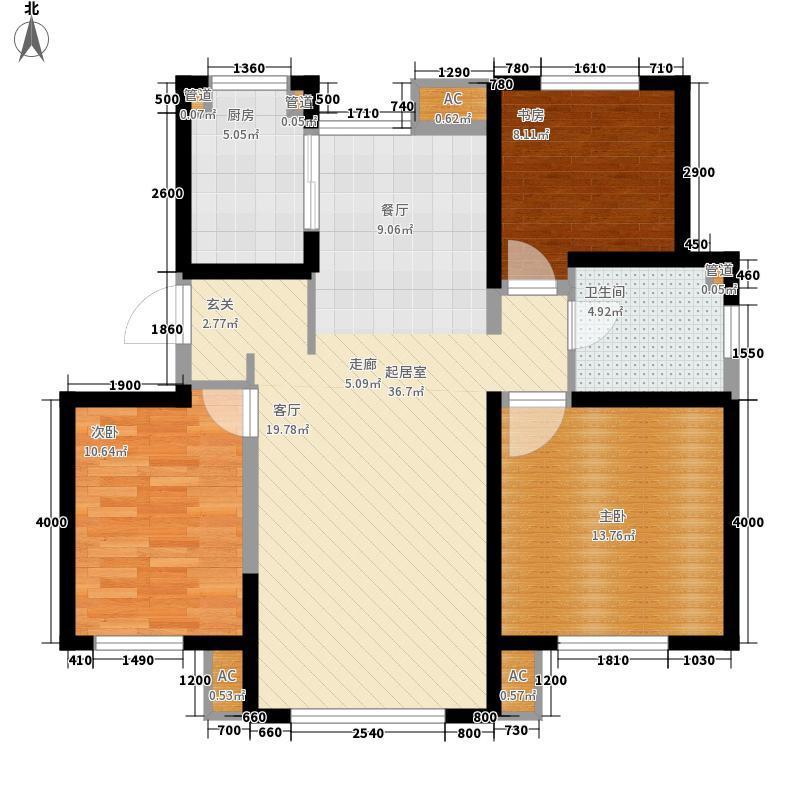格调林泉12.00㎡高层标准层户型3室2厅1卫1厨