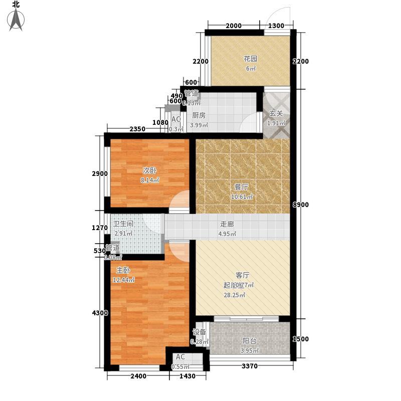 曲江圣卡纳89.00㎡A/B户型2室2厅1卫1厨