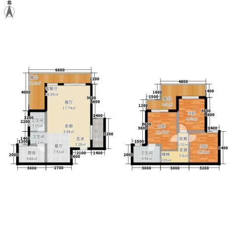 上河城3室1厅2卫1厨156.00㎡户型图