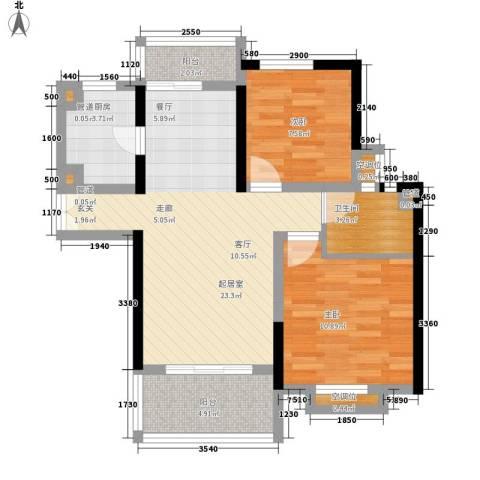 联泰香域滨江2室0厅1卫1厨83.00㎡户型图